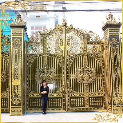 Cổng nhôm đúc phù điêu Buckingham kín