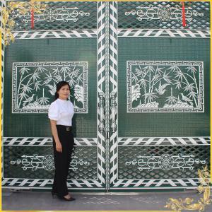 Công trình cổng nhôm đúc tranh trúc và chim