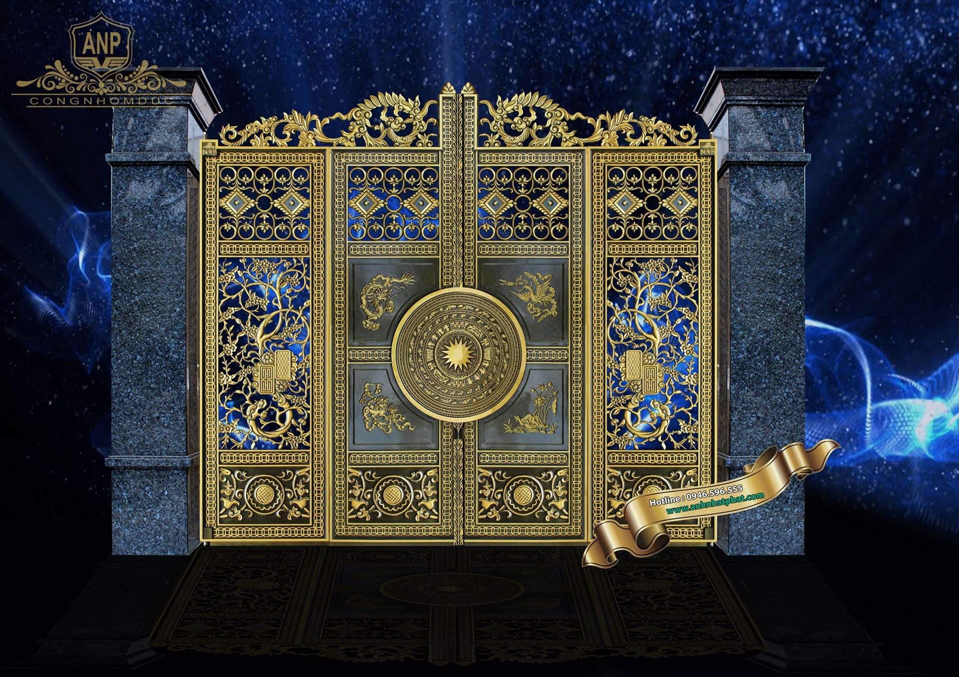 cổng nhôm đúc tứ linh 4 cánh