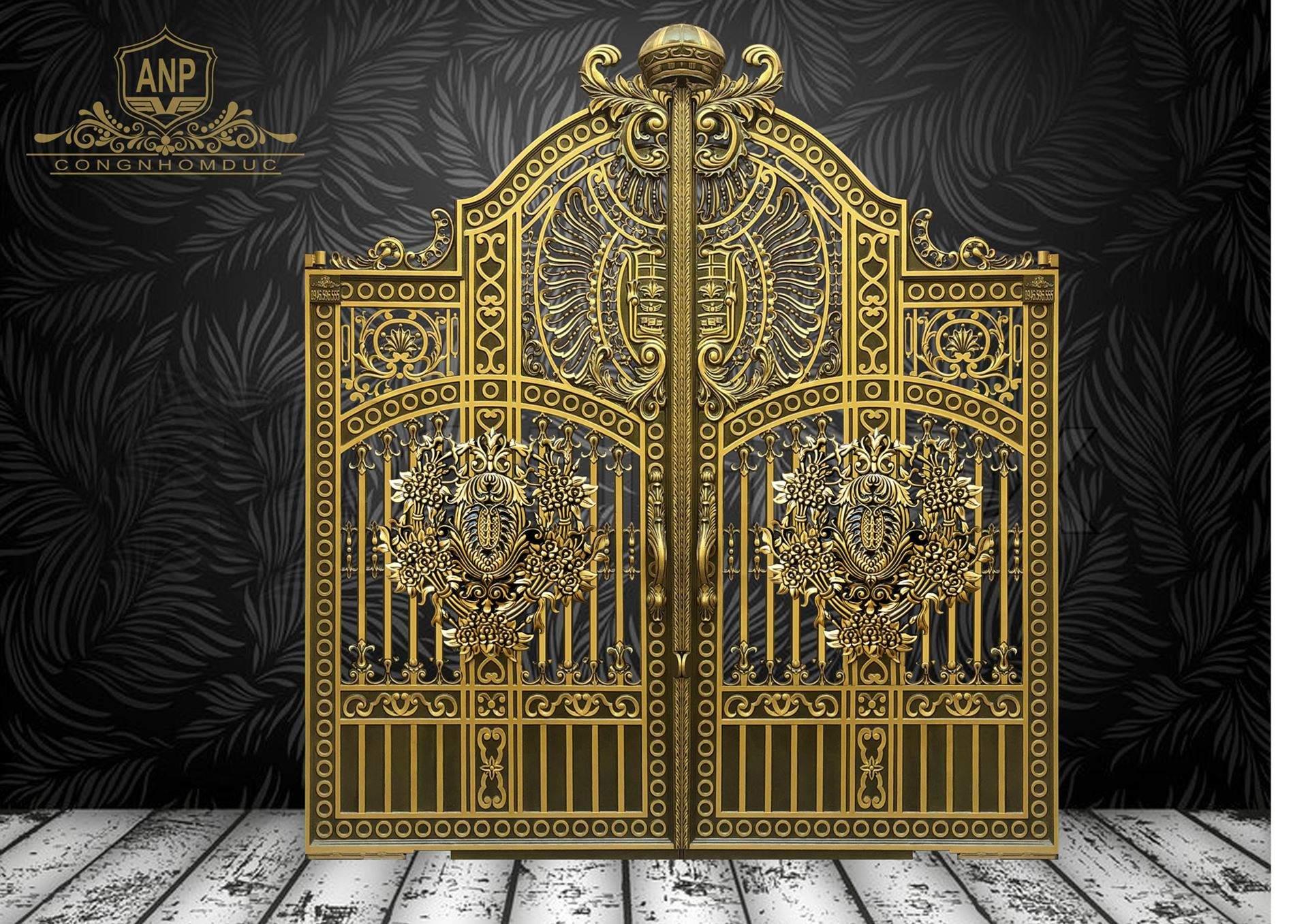 cổng nhôm đúc phù điêu